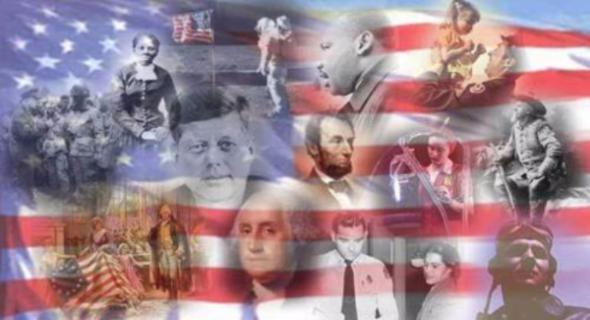 Clip art collage of important figures in American history