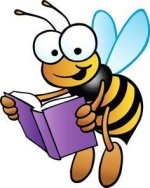 Clip art image of a bee holding a book